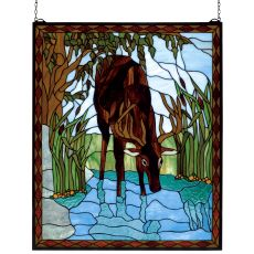 """25"""" W X 30"""" H Deer Stained Glass Window"""