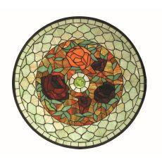 """24"""" W X 24"""" H Tiffany Rosebush Round Stained Glass Window"""