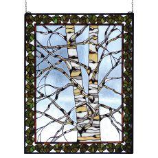 "28"" W X 36"" H Birch Tree In Winter Stained Glass Window"