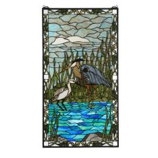 "23"" W X 42"" H Blue Heron & Snowy Egret Stained Glass Window"