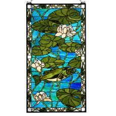 "23"" W X 42"" H Bass & Water Lilies Stained Glass Window"