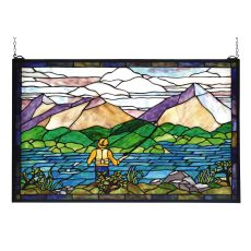 """30"""" W X 19"""" H Fly Fishing Stained Glass Window"""