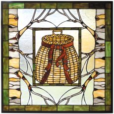 """25"""" W X 25"""" H Pack Basket Stained Glass Window"""