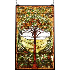 "29"" W X 48"" H Tiffany Tree Of Life Stained Glass Window"