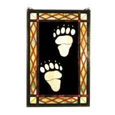 "17.5"" W X 26.5"" H Bear Tracks Stained Glass Window"