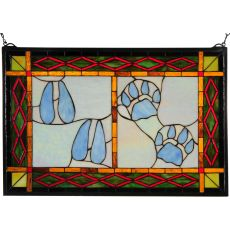 """26.5"""" W X 17.5"""" H Deer & Cougar Tracks Stained Glass Window"""