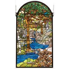 """40"""" H X 22"""" W Tiffany Waterbrooks Stained Glass Window"""