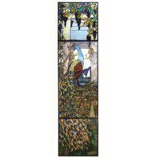 """21"""" W X 80"""" H Tiffany Peacock Wisteria Stained Glass Window"""