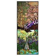 """24"""" W X 60"""" H Waterfall, Iris & Birch Stained Glass Window"""