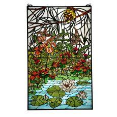 """30"""" W X 48"""" H Woodland Lilypond Stained Glass Window"""