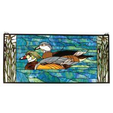 """35"""" W X 16"""" H Wood Ducks Stained Glass Window"""