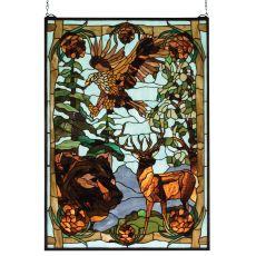 """25"""" W X 35"""" H Wilderness Stained Glass Window"""