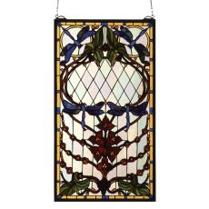 """14"""" W X 25"""" H Dragonfly Allure Stained Glass Window"""