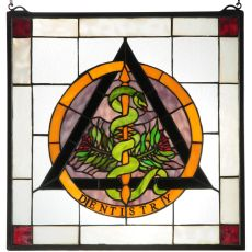 """18"""" W X 18"""" H Dentistry Stained Glass Window"""