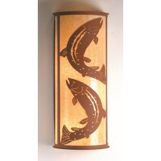 "13"" W Leaping Trout Wall Sconce"