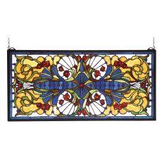"""29"""" W X 14"""" H Sonja Transom Stained Glass Window"""