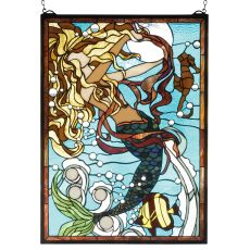 "19"" W X 26"" H Mermaid Of The Sea Stained Glass Window"