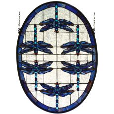"22"" W X 30"" H Dragonflies Oval Stained Glass Window"