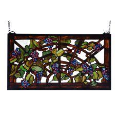 """22"""" W X 12"""" H Tiffany Grape Arbor Stained Glass Window"""