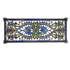 "29"" W X 11"" H Antoinette Transom Stained Glass Window"