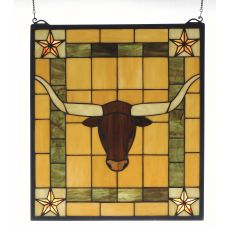 "16"" W X 18"" H Texas Longhorn Stained Glass Window"