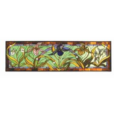 "51"" W X 15"" H Lady Slippers Stained Glass Window"