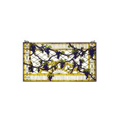 """17"""" W X 32"""" H Grape Diamond Trellis Stained Glass Window"""