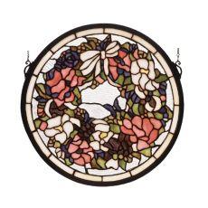 """15"""" W X 15"""" H Wreath Stained Glass Window"""
