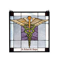 """18"""" W X 18"""" H Personalized Medical Stained Glass Window"""