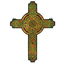 """25"""" W X 34"""" H Jeweled Celtic Cross Stained Glass Window"""