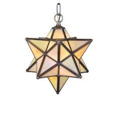 "24"" W Moravian Star Beige Iridescent Pendant"
