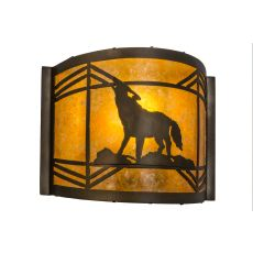 """12"""" W Northwoods Wolf On The Loose Wall Sconce"""