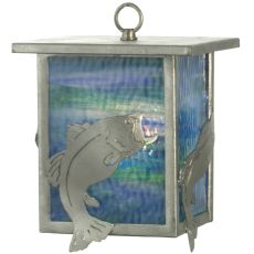 "8"" W Leaping Bass Lantern Mini Pendant"