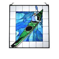 """24"""" W X 26"""" H Lone Kayak Stained Glass Window"""
