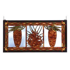 "36"" W X 18"" H Northwoods Pinecone Stained Glass Window"