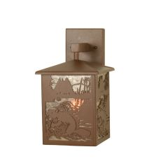 """7"""" W Beaver At Work Solid Mount Wall Sconce"""