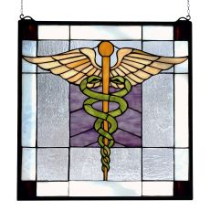 """18"""" W X 18"""" H Medical Stained Glass Window"""