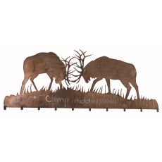 "60"" W Battling Bucks 10 Hooks Coat Rack"
