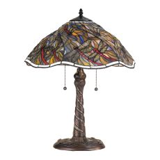 """23.5"""" H Spiral Dragonfly W/ Twisted Fly Mosaic Base Table Lamp"""