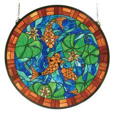 """24"""" W X 24"""" H Koi Pond Lily Stained Glass Window"""