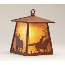 """7.5"""" W Cowboy & Steer Hanging Wall Sconce"""