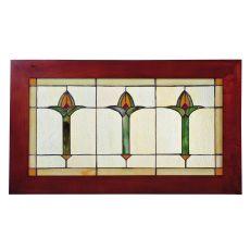 "24"" W X 14"" H Arts & Crafts Bud Trio Wood Frame Stained Glass Window"