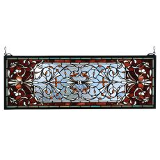 "28"" W X 10"" H Versaille Transom Stained Glass Window"