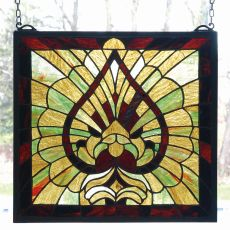 """15"""" W X 14"""" H Victorian Spade Stained Glass Window"""