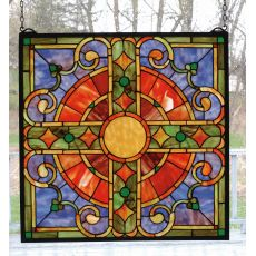 "20"" W X 20"" H Medieval Cross Stained Glass Window"
