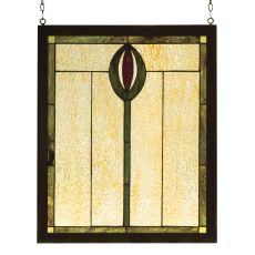 "14"" W X 17"" H Spear Wood Frame Stained Glass Window"