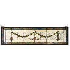"32"" W X 8"" H Garland Swag Stained Glass Window"