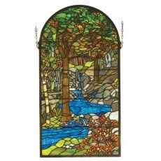 """16"""" W X 30"""" H Tiffany Waterbrooks Stained Glass Window"""
