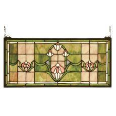 """24"""" W X 11"""" H Tulips Transom Stained Glass Window"""