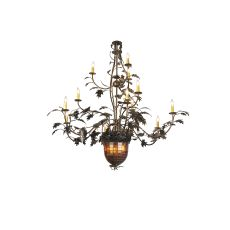 "63"" W Greenbriar Oak 12 Arm Chandelier"